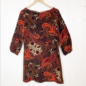 Amour vert brown & orange silk paisley mini dress